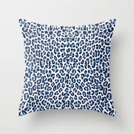 Blue Leopard Skin Throw Pillow