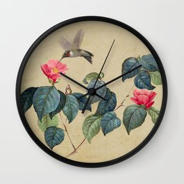 Hummingbird and Japanese Camillea Wall Clock