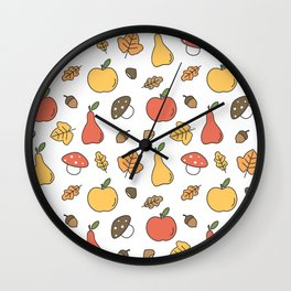 cute colorful autumn fall pattern with pears, apples, leaves, acorns, chestnuts and mushrooms Wall Clock