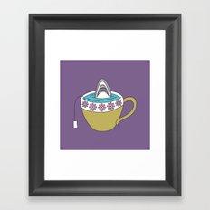 Shark in Tea Framed Art Print