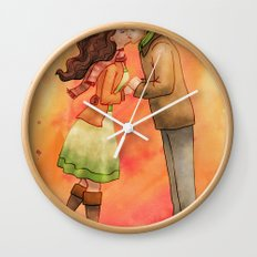 Cold Weather Kiss Wall Clock