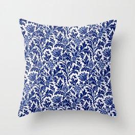 William Morris Thistle Damask, Cobalt Blue & White Throw Pillow