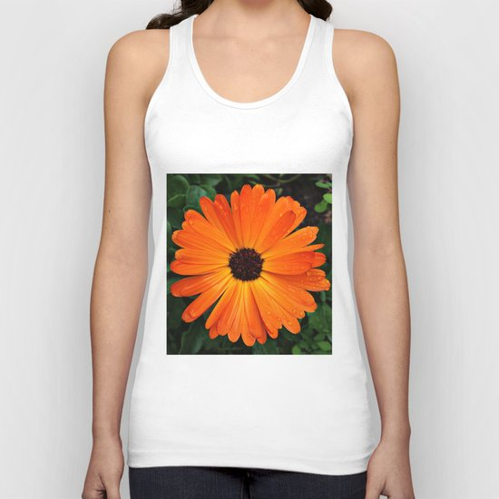 SMILE - DAISY FLOWER #3 #Orange #Raindrops Unisex Tank Top