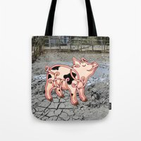 piglet Tote Bags featuring Piglet Knot by Knot Your World