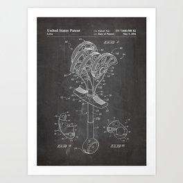 Climbing Anchor Patent - Rock Climber Art - Black Chalkboard Art Print