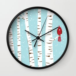 Winter Cardinal Wall Art  Wall Clock