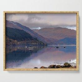 Argyll Scotland loch peaceful boats Serving Tray