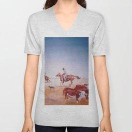 Rousting the Cattle, AUSTRALIA         by Kay Lipton Unisex V-Neck