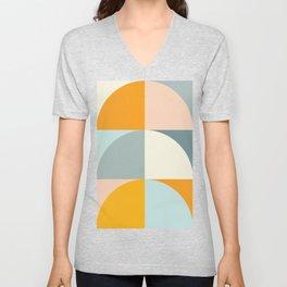 Summer Evening Geometric Shapes in Soft Blue and Orange Unisex V-Neck