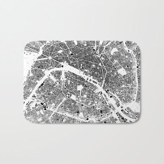 Paris Map Schwarzplan Only Buildings Bath Mat