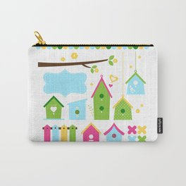 Beautiful colorful spring bird houses Carry-All Pouch