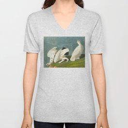 American Ptarmigan and White Vintage Scientific Bird Illustration Unisex V-Neck