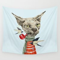 jazzberry Wall Tapestries featuring Sphynx cat by dogooder
