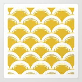 Japanese Fan Pattern Mustard Yellow Art Print