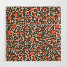Oranges and Leaves Pattern - Pink Wood Wall Art