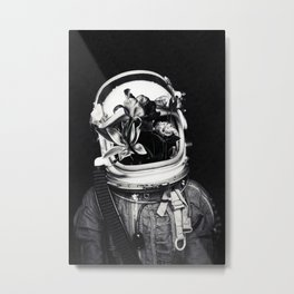 Astronauts and flowers Metal Print