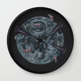 Crow Full Moon (March) Wall Clock