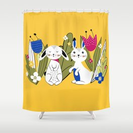 Spring with rabbits Shower Curtain