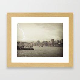 Hong Kong Lightning Bay Framed Art Print