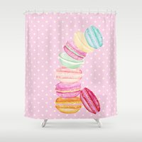 macarons Shower Curtains featuring MACARONS & STARS  by Monika Strigel