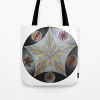 pentagram Tote Bags featuring Galactic Pentagram (ANALOG zine) by johngerGEOs
