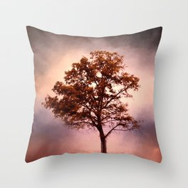 Coral Pink Sunrise Cotton Field Tree - Landscape  Throw Pillow