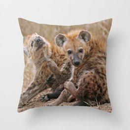 Young hyenas, Africa wildlife Throw Pillow