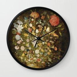 Jan Brueghel (I) (atelier) - Still life with flowers (1600-1630) Wall Clock