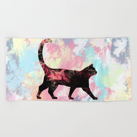 Abstract Cat  Beach Towel