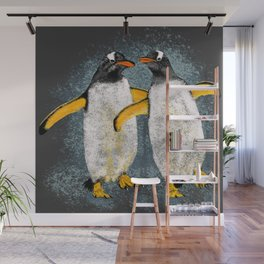Happy penguin couple - Grey Wall Mural