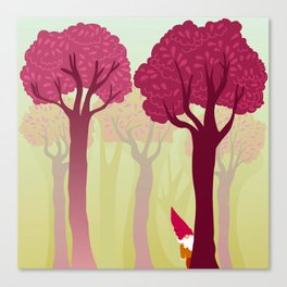 colorful forest with cute dwarf Canvas Print