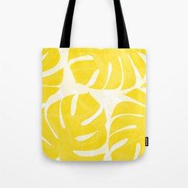 Mellow Yellow Monstera Leaves White Background #decor #society6 #buyart Tote Bag