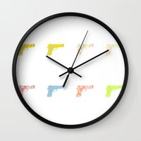 guns Wall Clocks featuring Guns by fyyff