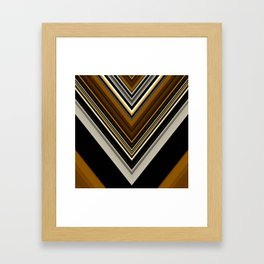 Retro Triangles Pattern in black, grey, yellow and brown Framed Art Print