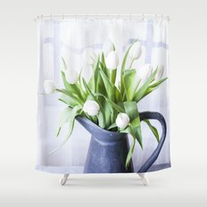 A Pitcher of Tulips - White Flowers Shower Curtain