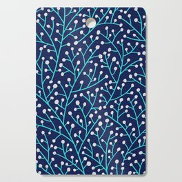 Berry Branches - Turquoise on Navy Cutting Board