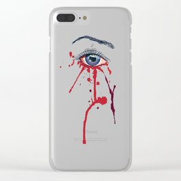 Blue eye with red paint Clear iPhone Case