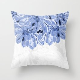 Elegant Blue Flowers Design Throw Pillow