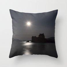 Eilean Donan Castle by Moonlight Throw Pillow