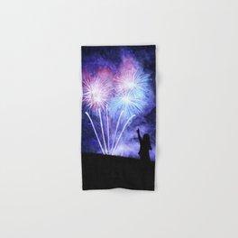 Blue and pink fireworks Hand & Bath Towel