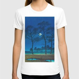 Vintage Japanese Woodblock Print Three Tall Trees At Night Forest Field Landscape T-shirt