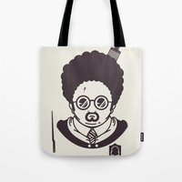 potter Tote Bags featuring Barry Potter by Ryder Doty
