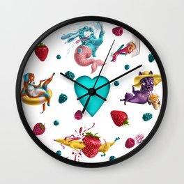 Summer Dogs Pattern Wall Clock