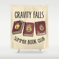 gravity falls Shower Curtains featuring Gravity Falls: Summer Book Club by pondlifeforme