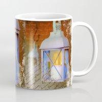 lanterns Mugs featuring White lanterns by LaDa