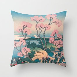 Spring Picnic under Cherry Tree Flowers, with Mount Fuji background Throw Pillow