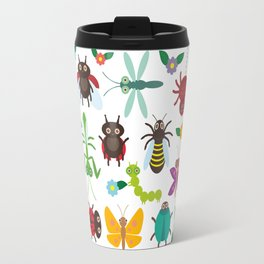 Funny insects Spider butterfly caterpillar dragonfly mantis beetle wasp ladybugs Travel Mug