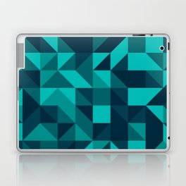 The bottom of the ocean - Random triangle pattern in shades of blue and turquoise  Laptop & iPad Skin