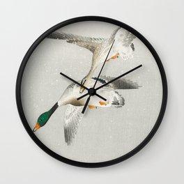 Ohara Koson, Wild Ducks Mid Flight - Vintage Japanese Woodblock Print Wall Clock