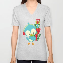 Christmas Bird, Blue Bird, Bird With Ear Warmers Unisex V-Neck